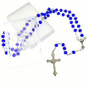 Catholic Black faceted glass Holy Communion rosary beads in velvet gift box