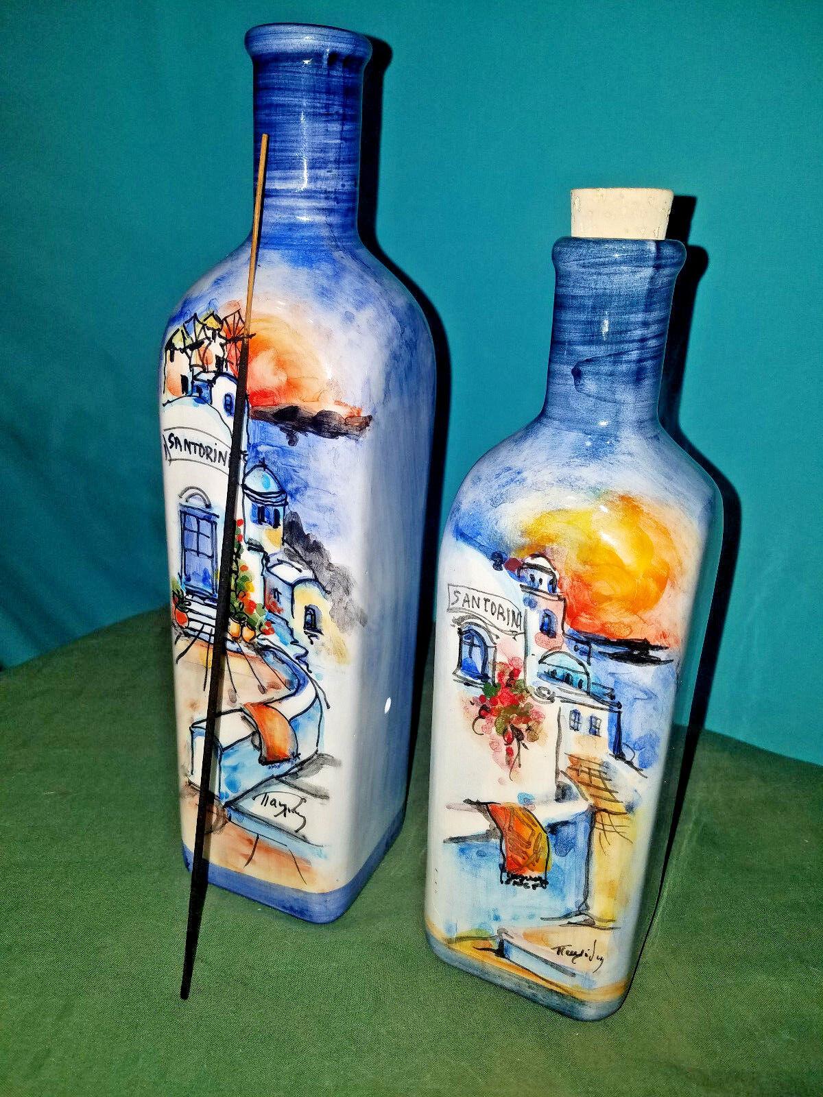 Handpainted in Greece Beautiful Art Santorini Incense Bottle Burner with Mate
