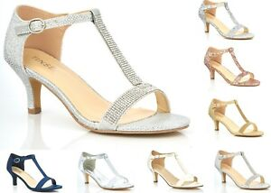 NEW-LADIES-GLITTER-DIAMANTE-LOW-KITTEN-HEEL-T-BAR-WEDDING-EVENING-PROM-SANDALS