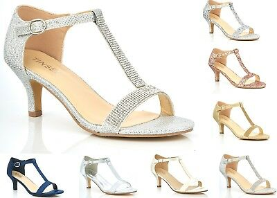 NEW LADIES GLITTER DIAMANTE LOW KITTEN HEEL T BAR WEDDING EVENING PROM SANDALS | eBay