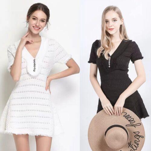 Femmes été blanc à manches courtes tricot à rayures Mini Bodycon Party Dress