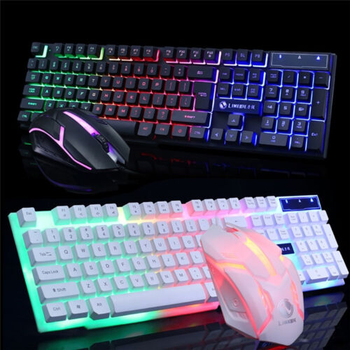 LED Glowing Computer Keyboard And Mouse Game Suite USB Wired Mechanical US STOCK