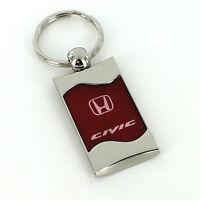 Honda Civic Red Spun Brushed Metal Key Ring