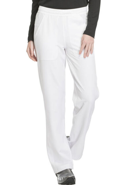 9aa6a7e8bb4 White Dickies Dynamix Mid Rise Straight Leg Pull On Scrub Pants DK120 WHT