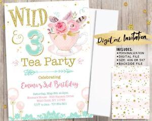 Image Is Loading Fl Tea Party Birthday Invitation Wild Three 3rd