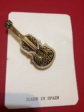 VINTAGE DAMASCENE GUITAR PIN / BROOCH  With Strings From Spain