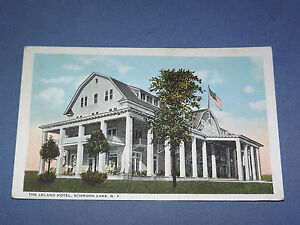 VINTAGE-EARLY-1900S-LELAND-HOTEL-SCHROON-LAKE-NEW-YORK-POSTCARD