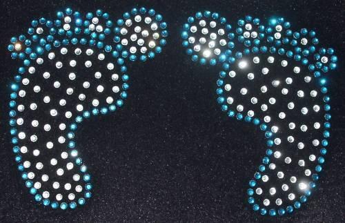 BABY FEET BLUE iron-on rhinestone DIAMANTE CRYSTAL diy TRANSFER PATCH