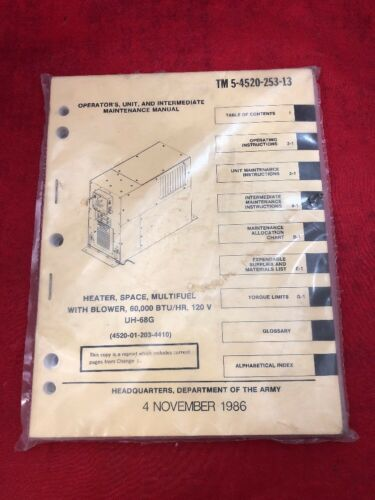 Details about  /New Operator/'s Manual Book for Multifuel Space Heater w//Blower TM 5-4520-253-13