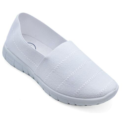 Filles Garçons Enfants Blanc SCHOOL Pompes Sneaker Plimsoll Chaussures De Loisirs 10-3