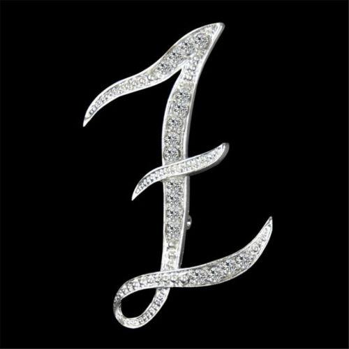 1PC Best alphabet lettre A-Z SILVER-TONE Initial Letter Fashion Broche Pin