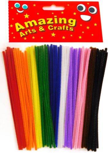 Pipe Cleaners Chenille Stems Assorted Colours 150mm x 4mm 100 pcs