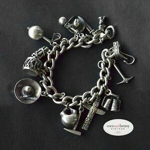 Vintage-40-039-s-50-039-s-Mexican-Sterling-Silver-Charm-Bracelet-15-Charms-65-grams