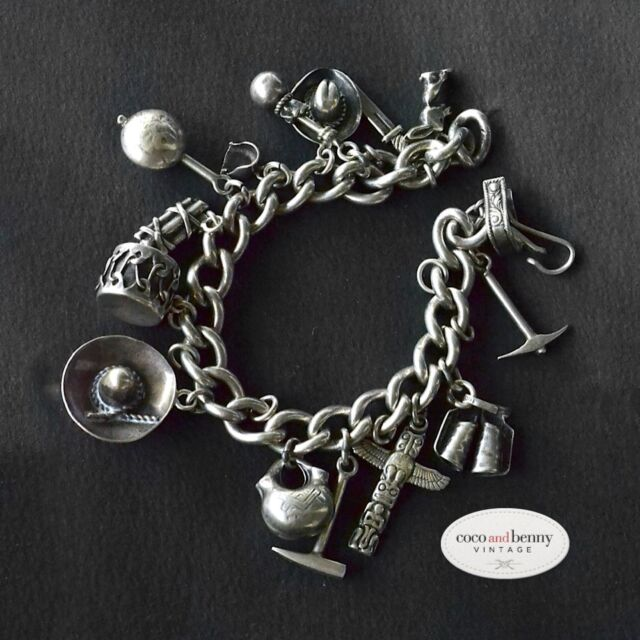 *Vintage 40's/50's Mexican Sterling Silver Charm Bracelet 15 Charms 65 grams