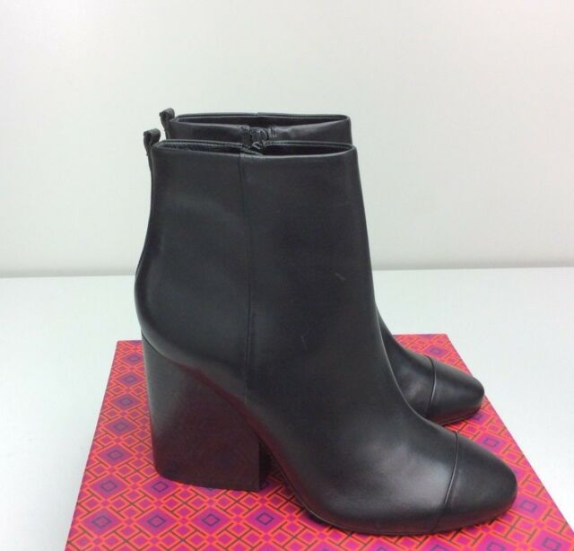 e2e97ea428ecdf TORY BURCH Grove 100MM Bootie Boots size 10.5 Black Leather Ankle Block Heel