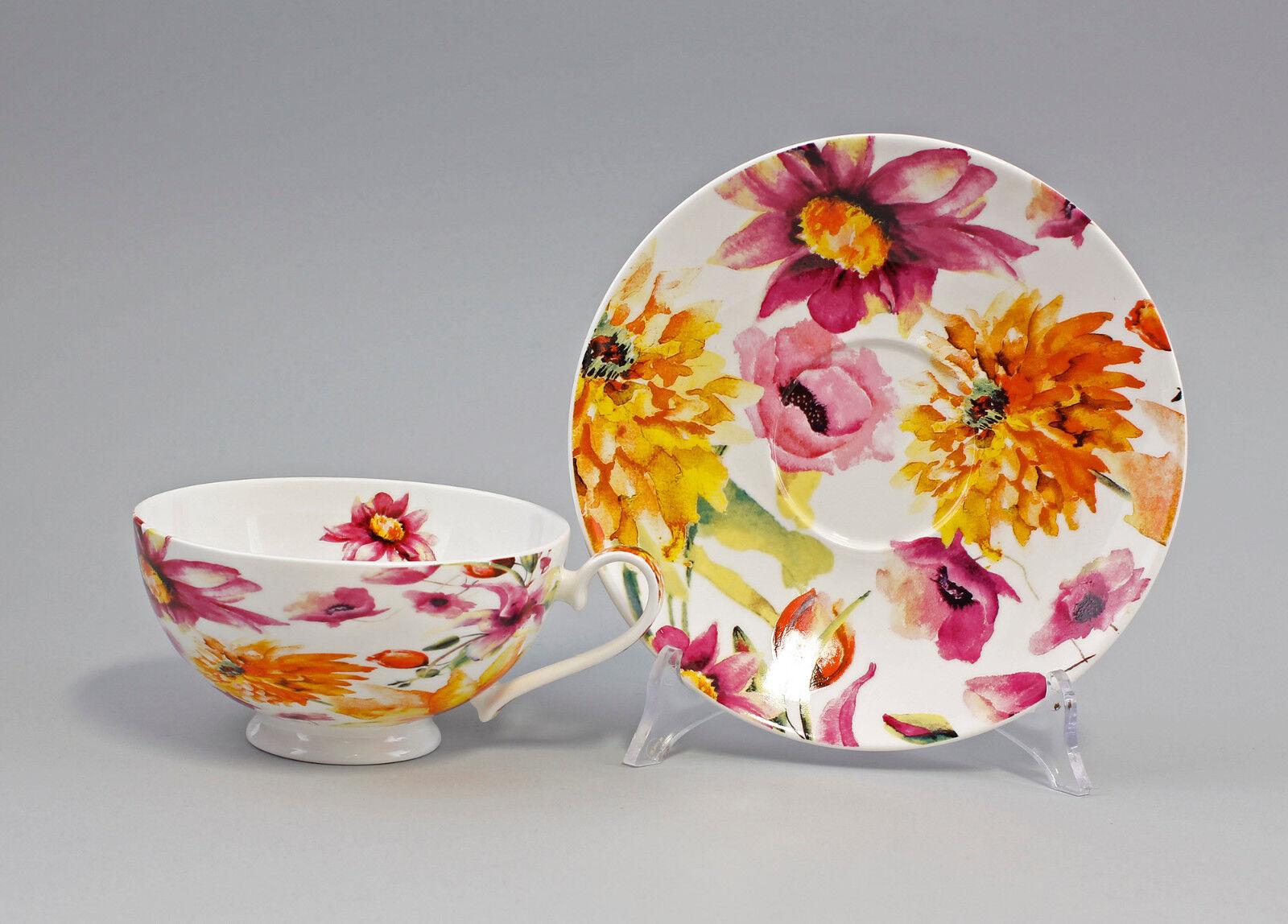 PorzellanTee-Tasse mit Untertasse Dekor  Sommerwiese  Jameson&Tailor 9952305 | | | Online  d27ba6