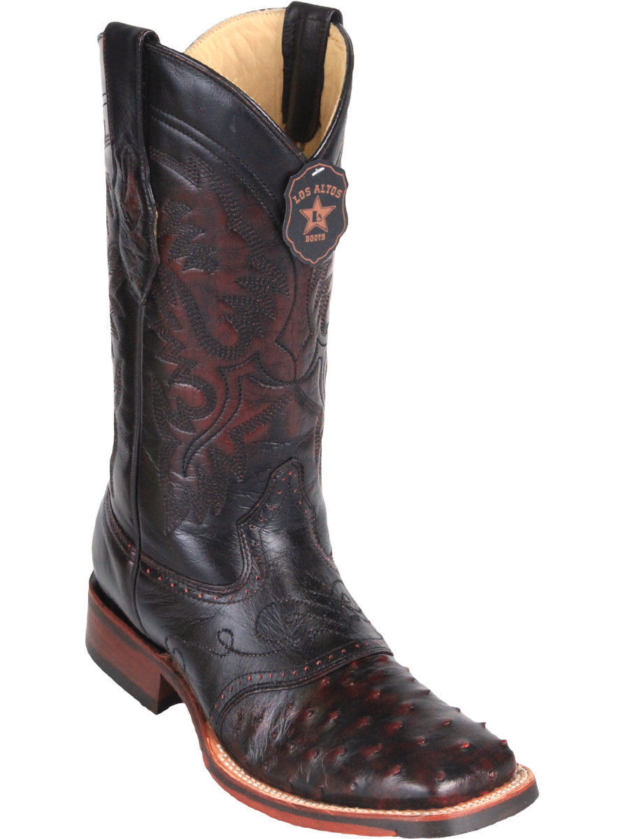 Los Altos CHERRY Ostrich Square Toe TPU Rubber Sole Western Cowboy Boot EE+