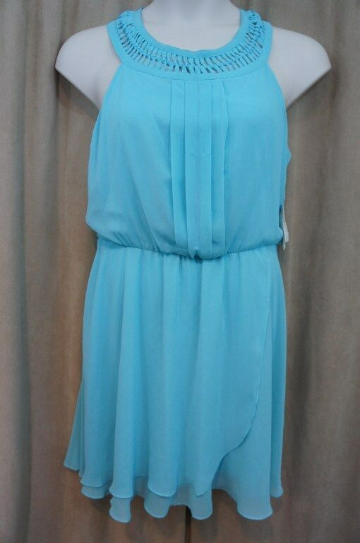 Jessica Simpson Robe Taille 10 Aqua Bleu Mousseline Blouson Décontracté de