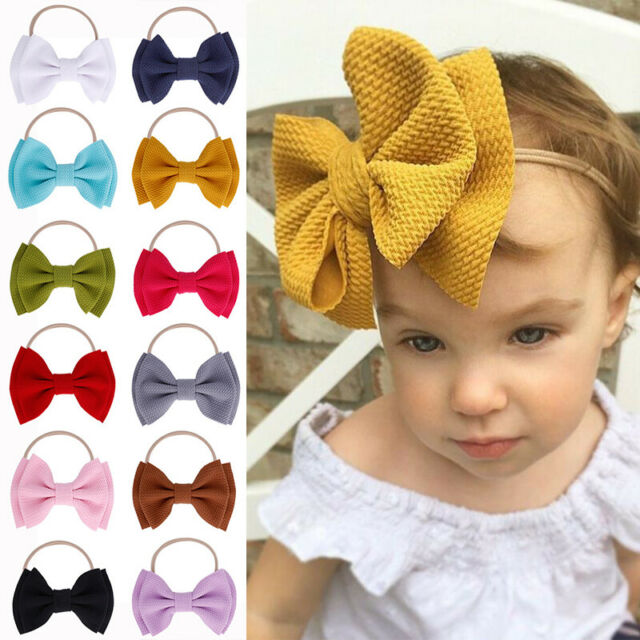 Solid Big Bowknot Bow Hair Band Accessories Headwear Headband Baby Girls Toddler