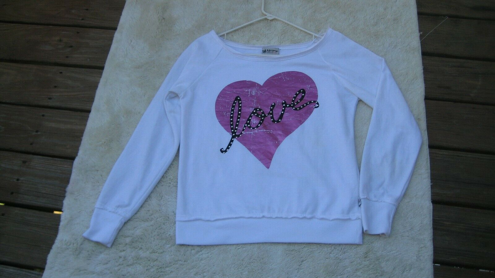 "Self Esteem White Sweatshirt with Pink Heart ""Love"" Graphic Women's Size Small 8"