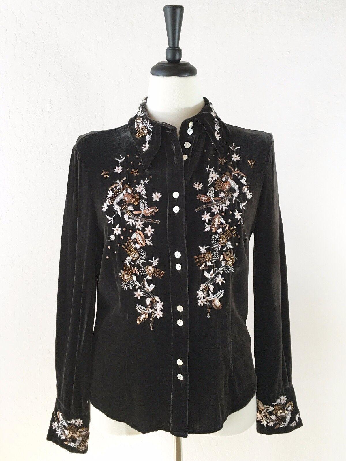 azulsa de terciopelo VOTRE NOM Vintage para  Mujer L o M marrón cuello señalado Perlas Usado En Excelente Condición  compra en línea hoy