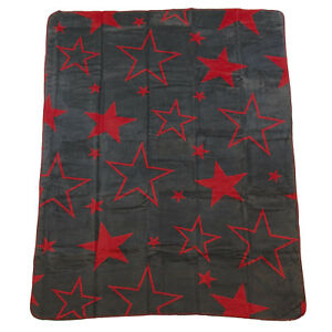 Details Zu Wohndecke Kuscheldecke Sterne Big Star Anthrazit Grau Rot Wendeoptik 150x200 Cm