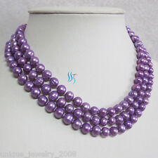 """50"""" 6-8mm Purple Freshwater PearlNecklace Strands Jewelry"""