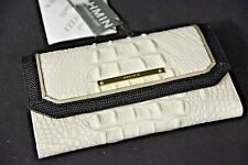 NWT Brahmin Soft Checkbook Tri-fold Wallet in Sugar Tri-Texture. White & Black