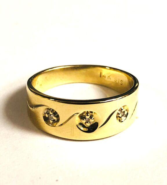 14k yellow gold .03ct VS1 G diamond 3-stone wedding band ring 4.1g estate