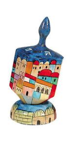 Jerusalem-Hanukkah-Dreidel-with-Stand-Chanukah-Hand-Painted-Made-in-Israel