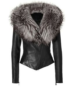Women s 100 % Lamb Real Fur Collar Leather Jacket ! Small  1b1070d2c