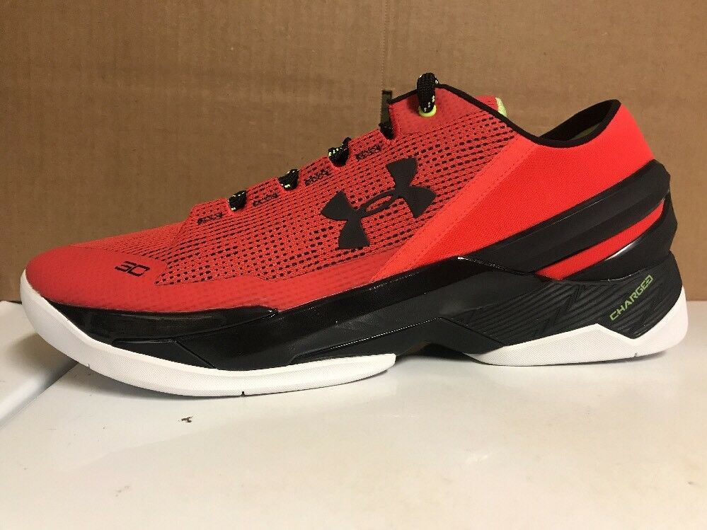 New Under Armour UA Curry 2 Low Rocket Red Black Size 12 (1264001-984)