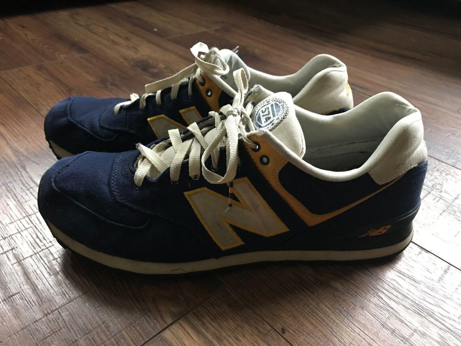 Men's NEW BALANCE 574 Retro Running Sneakers, Classics, bluee gold, Size 13