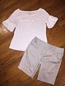 Lot-ELLE-Sonoma-Puff-Sleeve-Blouse-Bermuda-Dress-Shorts-Women-039-s-SZ-12-Large