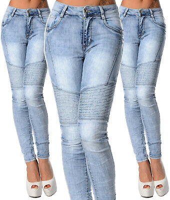 Sexy New Women's Stretchy Wash Blue Biker Jeans Trousers Skinny Slim J 223