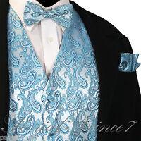 Turquoise Blue Paisley Tuxedo Suit Dress Vest Waistcoat & Bow Tie And Hankie Set