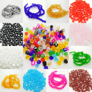 e619613dcfd2 100 x 4mm   6mm Glass Faceted Bicone Crystal Beads Jewellery Making ...