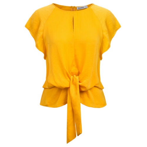 Womens Zipper Back Solid Loose Blouse Short Sleeve Round Neck Hollow Tops Shirt