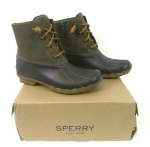 New-Sperry-Saltwater-Duck-Boots-Brown-Green-Sz-6M-Leather-Uppers-Womens-BR8