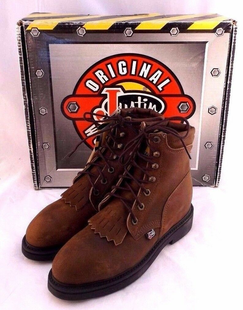 New JUSTIN L0774 Size 6 M Copper Caprice Steel Toe Work Men's Boots RETAIL $219