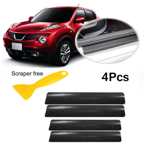 5PCS Car Door Pedal Bumper 3D Carbon Fiber Stickers Tail Lip Anti-Scratch Decal