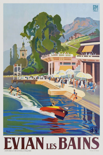 Art Deco French Travel Poster Evian les Bains 1930s Water Skiing Lake Geneva