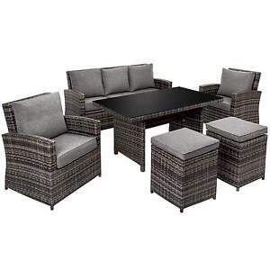 Détails sur Ensemble Salon de jardin résine tressée poly rotin chaise  canapé table set gris