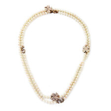 NEW Exquiste J CREW Rhinestone Flower Number 5 Pearl Strand Necklace