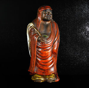 School Zen Bodhidharma 菩提达摩 達磨 Monk Buddhist Japan XIX ° Sculpture H: 26 CM