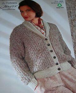 Original-Patons-Knitting-Pattern-Lady-039-s-Juniper-amp-Aran-Shawl-Coller-Jacket-C3955