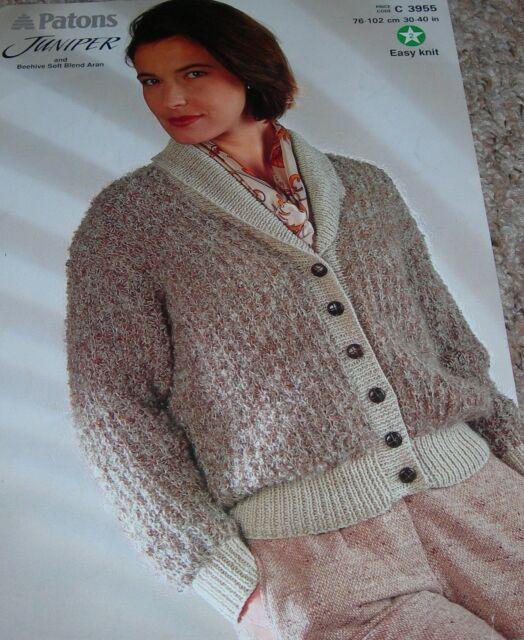 Original Patons Knitting Pattern Lady's Juniper & Aran Shawl Coller Jacket C3955