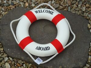 Lifebuoy-Welcome-Aboard-Red-White-Ship-Boat-Wheel-maritime-Bathroom-Life-Ring