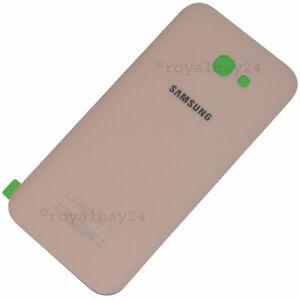 SAMSUNG-Galaxy-A7-2017-A720-Echt-Glas-Akkudeckel-Rueckseite-Peach-Cloud-backcover