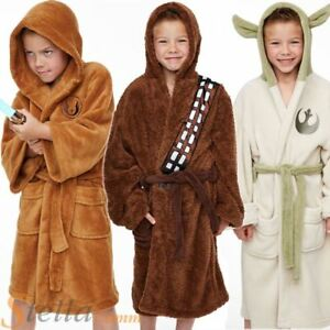 fdf28ec746 Kids Official Star Wars Jedi Yoda Plush Fleece Bathrobe Boys Girls ...